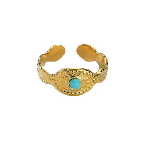 Anneau acier doré pierre turquoise