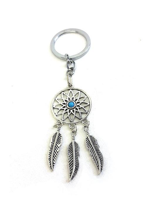Porte clef bijou de sac attrape rêve plumes métal