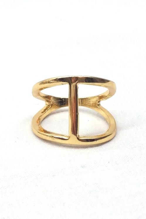 Bague métal doré forme H