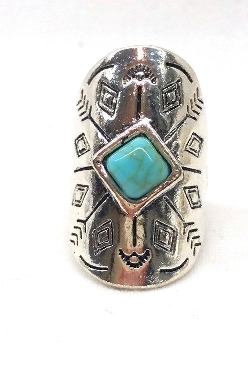 Bague avec pierre turquoise amérindienne