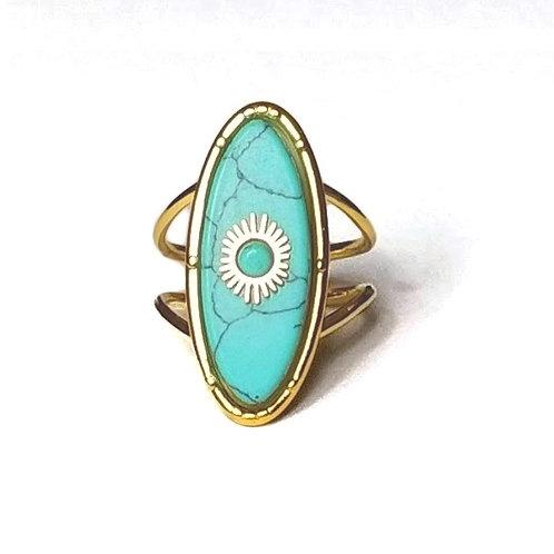 Bague acier doré et turquoise ovale