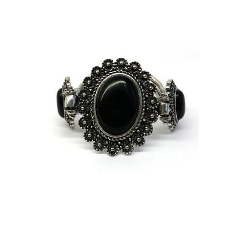 Bracelet vintage avec pierre naturelle onyx