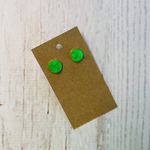 Bright Green Druzy Stud with Gold Accent