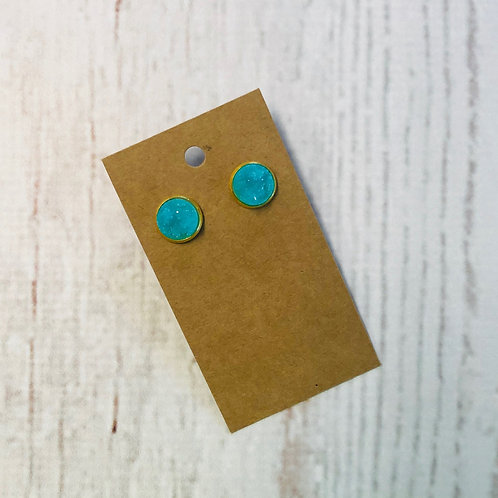 Turquoise Druzy Stud with Gold Accent