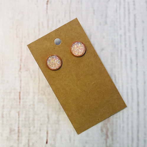 Coral Glitter Stud with Rose Gold Accent