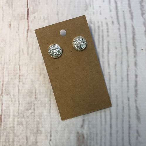Silver Druzy Stud with Silver Accent