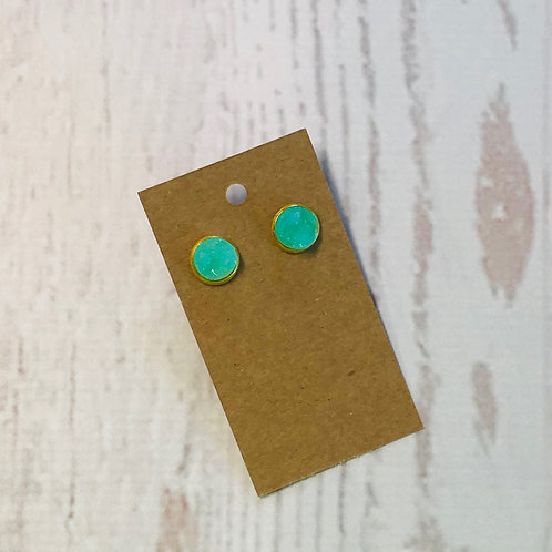 Aqua Druzy Stud with Gold Accent