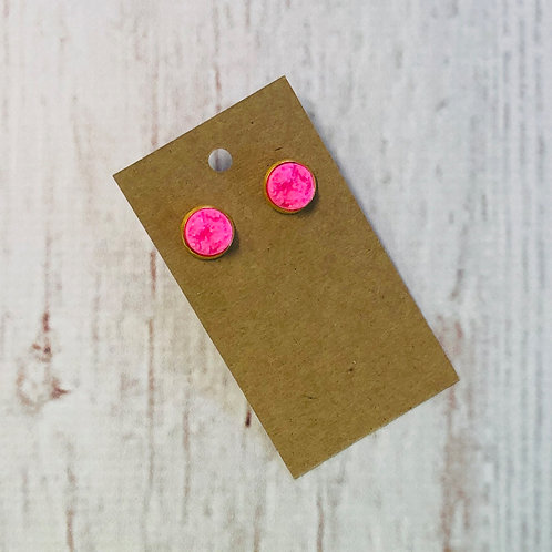 Neon Pink Druzy Stud with Gold Accent