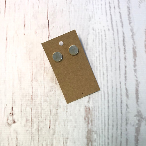Clear Druzy Stud with Silver Accent