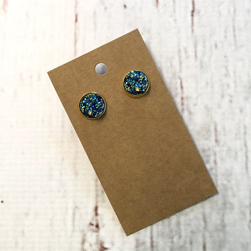 Navy Blue Holographic Druzy Stud with Gold Accent