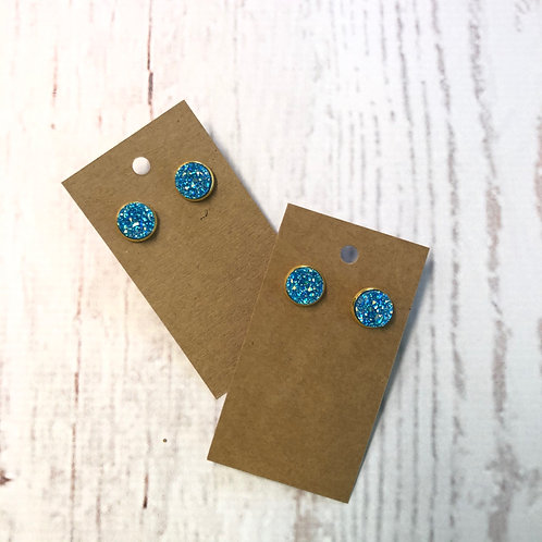 Blue Glitter Druzy Stud with Gold Accent