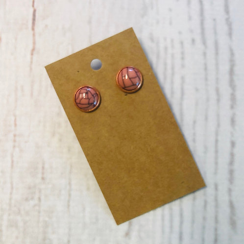 Coral Marble Druzy Stud with Rose Gold Accent