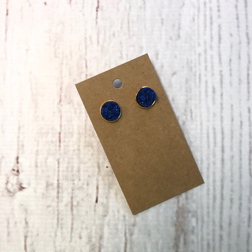 Navy Druzy Stud with Gold Accent