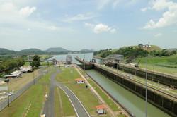 Panama Canal. View of the Miraflores Locks.