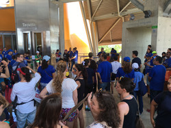 Demonstrators Gather at the Biomuseum Atrium