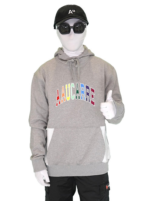 "HOODIE ""UNIVERSITY RAINBOW HEATHER GREY"""