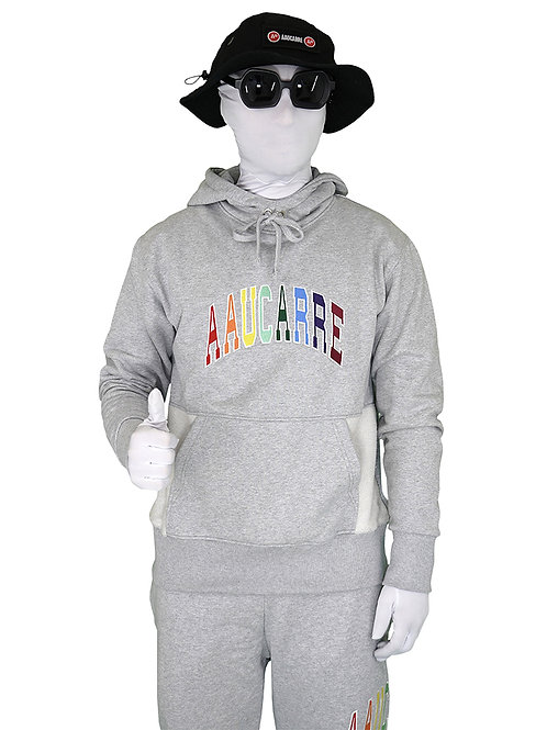 HOODIE UNIVERSITY RAINBOW HEATHER GREY