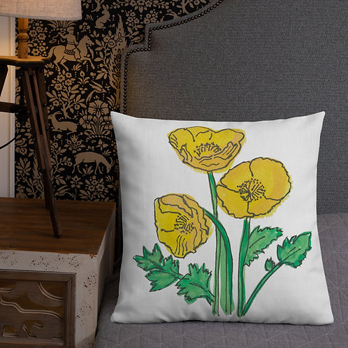 Yellow poppies - Ethical Premium scatter Pillow