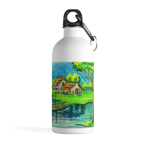 Tranquility - White Stainless Steel Water Bottle