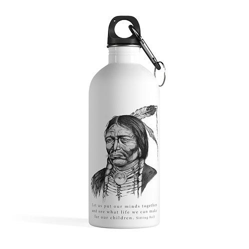 Sitting Bull - White Stainless Steel Water Bottle