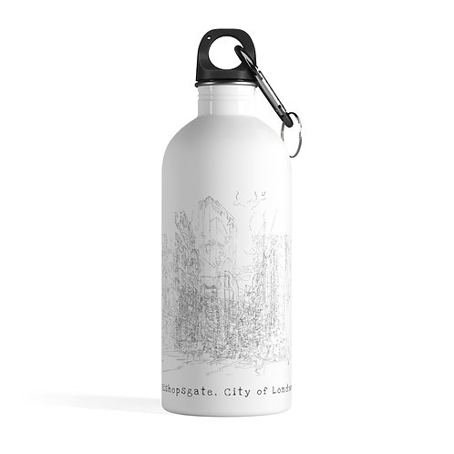 Bishopsgate, City of London - White Stainless Steel Water Bottle