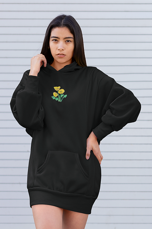 Yellow poppies - Embroidered eco hoodie dress