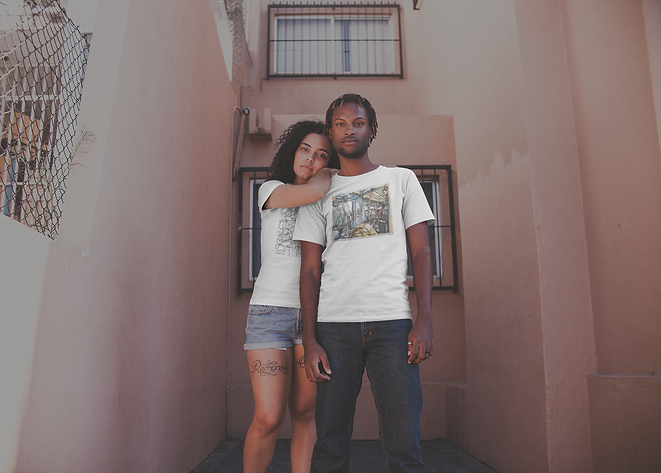 young-couple-wearing-t-shirts-mockup-out