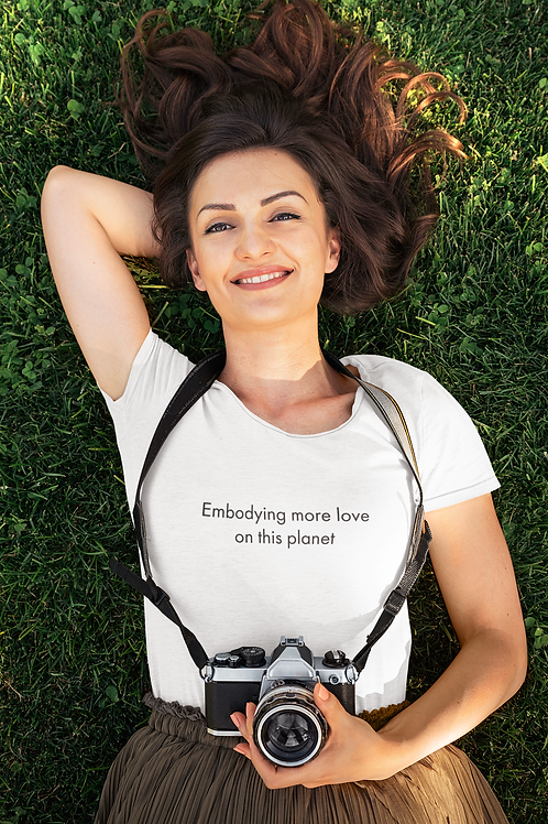 Embodying more love on this planet - Oracle Girl - Womens Organic Fitted T-shirt