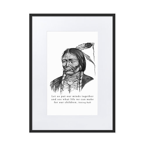 Sitting Bull - Matte Paper Framed Poster with mount