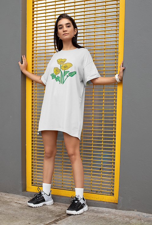 Yellow poppies - Organic cotton t-shirt dress