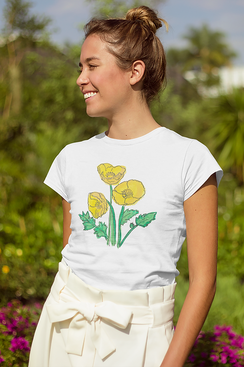 Yellow poppies - Women's fitted organic cotton tee