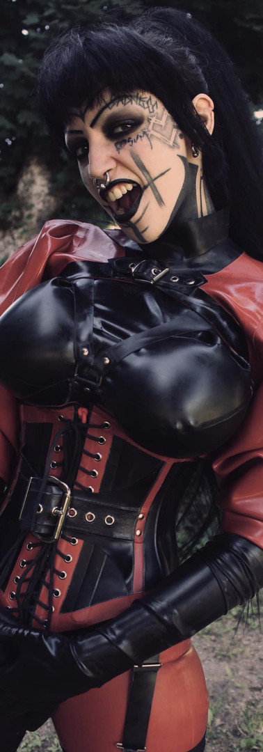 Black and Red Rubber, Full DeMasK Rubber outfit.