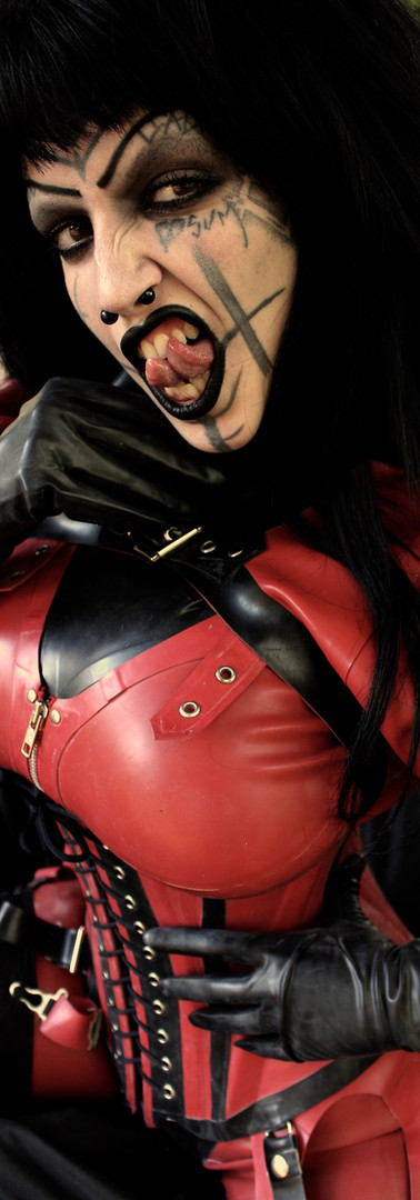 Red and Black Rubber, DeMasK Rubber outfit.