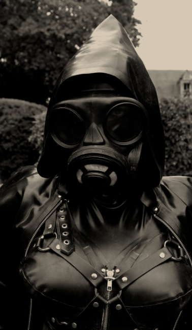 Gasmask and Rubber cape. DeMasK Rubber Outfit.