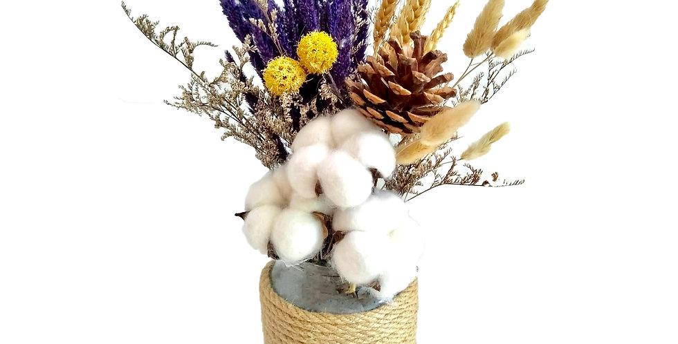 Rustic Preserved Cotton Flower Arrangement