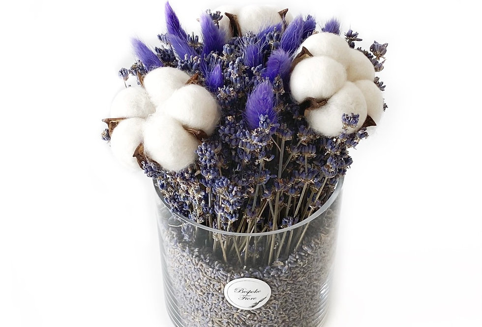 Dried Lavender and Preserved Cotton with Purple Bunny Tails