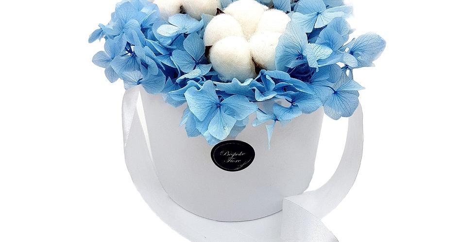 Blue Hydrangea with Cotton