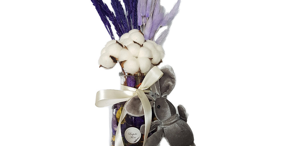 Purple Potpourri Floral Arrangement with Bear