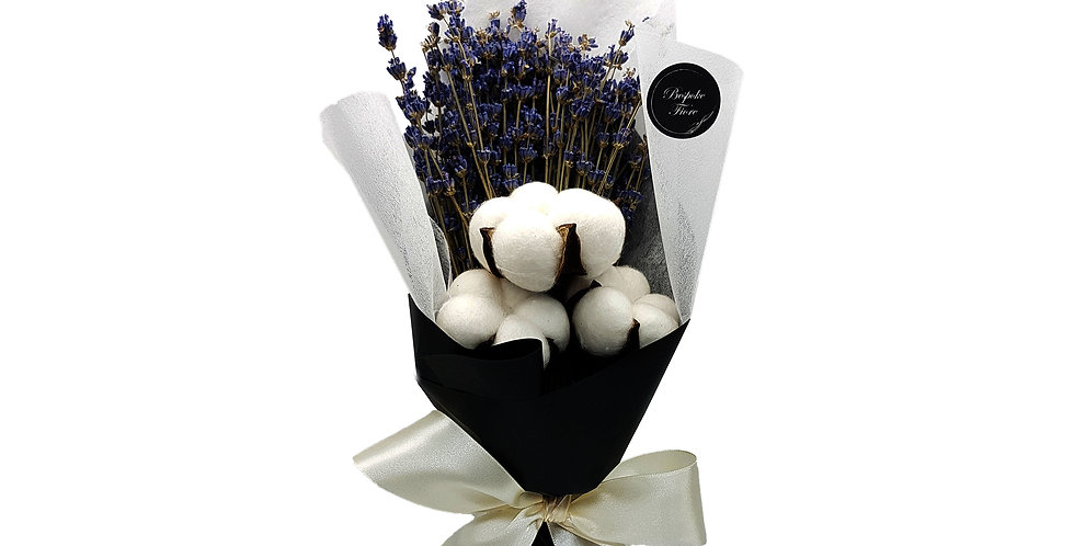 Dried Lavender with Preserved Cotton Bouquet