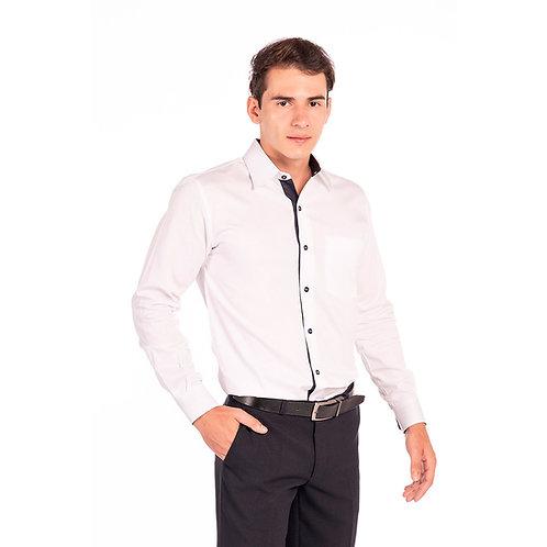 Camisa Masculina com Detalhes Bi-Color, Manga Longa