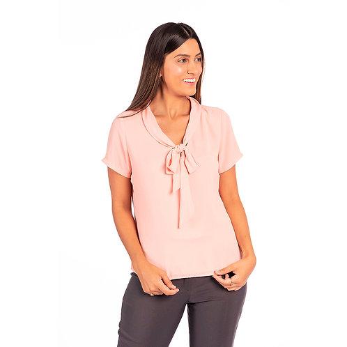 Blusa Tecido Fluido com Frente Dupla, Gola Laço, Modelagem Solta