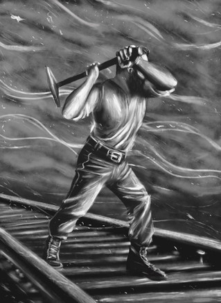 Railroad Worker Painting