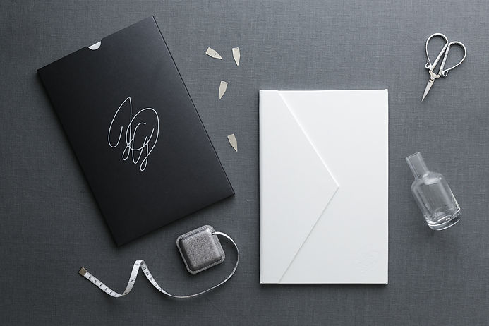 black and white luxurious wedding invitation leather
