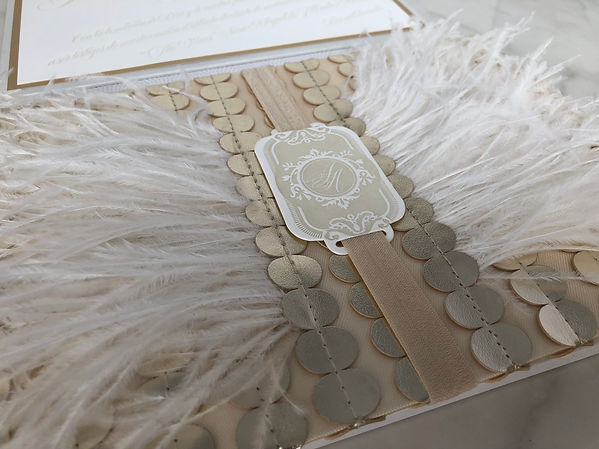 wedding invitation feathers letterpress