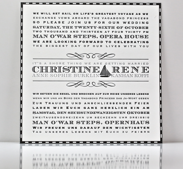 sailor sea maritime wedding invitations letterpress