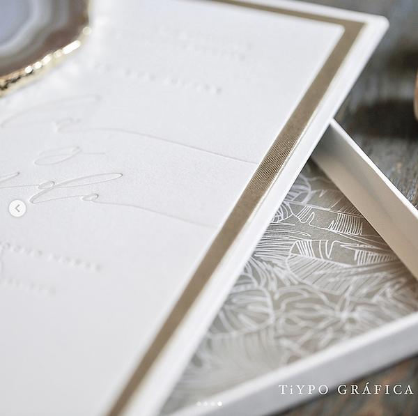 destination wedding invitations tropical leather box letterpress