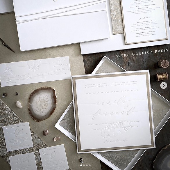 destination wedding invitations tropical leather box letterpress