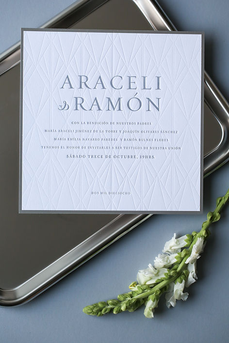 geometric pattern textured wedding invitations