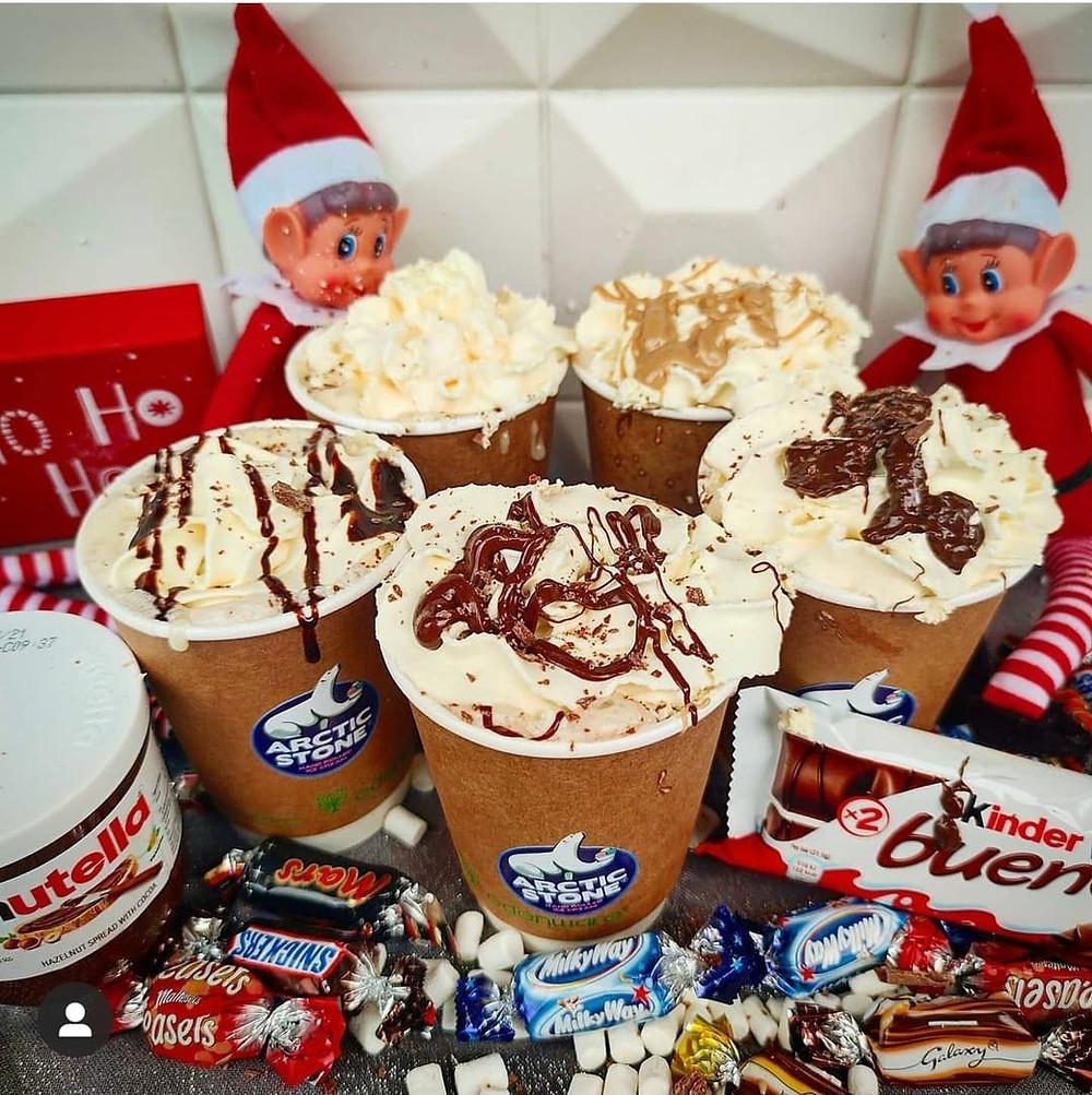 Arctic Stone Hot Chocolates - Kinder Bueno, MilkyBar, Fererro Rocher, Nutella, Rafaello