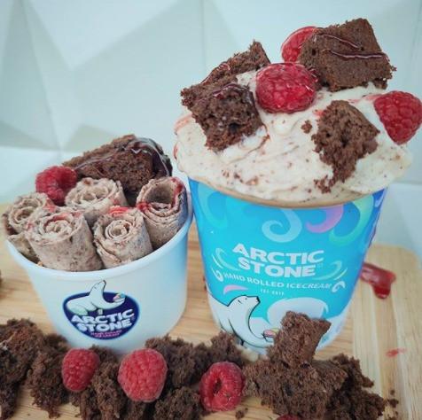 Arctic Stone Chocolate Fudge Brownie and Raspberry Ice Cream